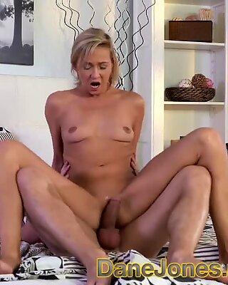 DaneJones Creampie in hot blondes shaved pussy