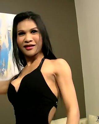 Lovely Asian tgirl sucks her lips on huge throbbing cock