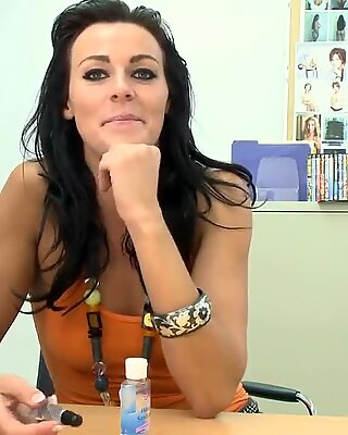 Hot brunette Nikki recives huge cock in doggy style